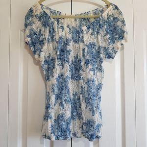 Blue floral lace peasant top